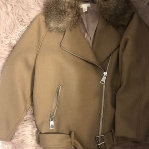 Fur collar Moto jacket